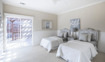 Bedroom prepared for real estate viewing