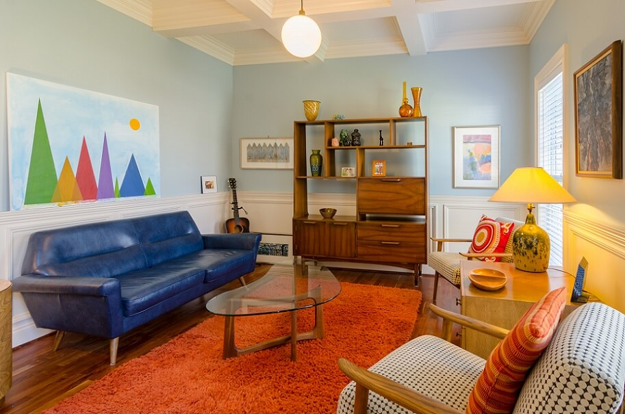 Colorful living room with differnt color furniture