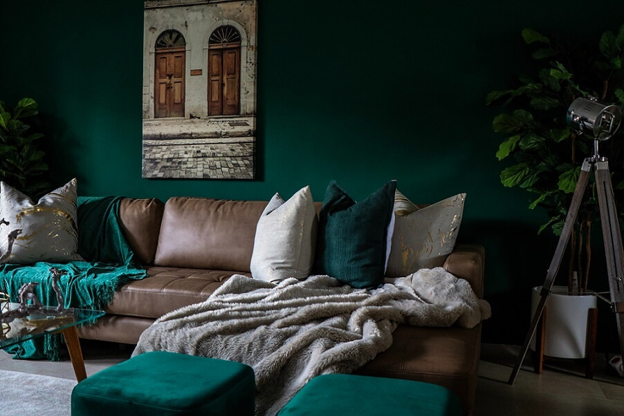 Throw rug and pillows on couch in dark room