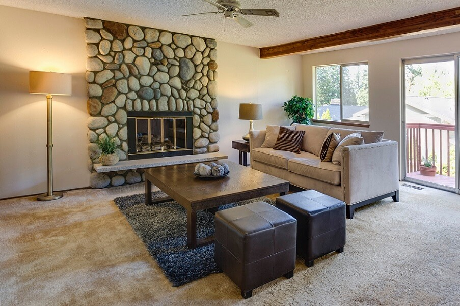 Stone fireplace in cozy room