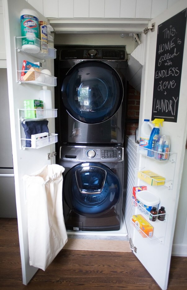 Black stacked washer and dryer
